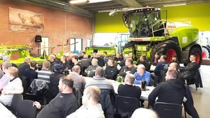 """Stor tilslutning til """"Claas Jaguar Road Tour"""" hos maskinforretningen A.P. Jørgensen i Ribe"""