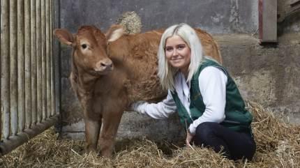 Man skal ikke tage fejl af det lange lyse hår, smykkerne og de tætsiddende jeans. Mille Kragelund er 20 år gammel, passioneret limousineavler og bidt af dyrskuer. Hun stiller i år med tyren Kærsgaards Oberst.