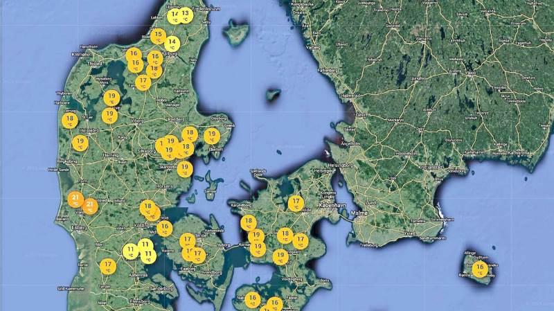 Når landmanden benytter sig af netværkspakken ses et Danmarkskort på computeren med klynger af vejrdata, der bliver mere og mere lokale, jo mere man zoomer ind. - Man kan vælge mellem at se nedbør, jordtemperatur og lufttemperatur, oplyser FieldSense. Foto: Jakob Larsen