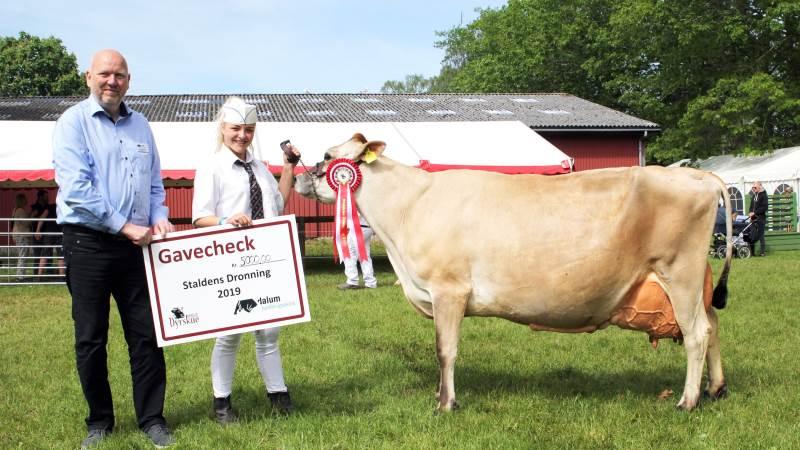 Jens Munk Kruse, forstander på Dalum Landbrugsskole, og Ann-Cherie Kepp med den jersey-ko fra Lars Stenbek ved Næstved, der for andet år i træk vandt Superko-konkurrencen. Fotos: Jesper Hallgren