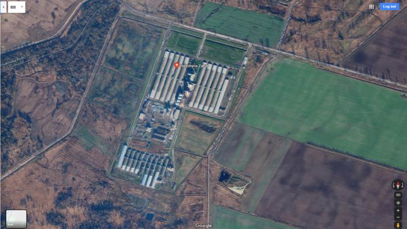 Farmen, der er ramt af svinepest, ligger i det vestlige Ukraine. Foto: Google Maps