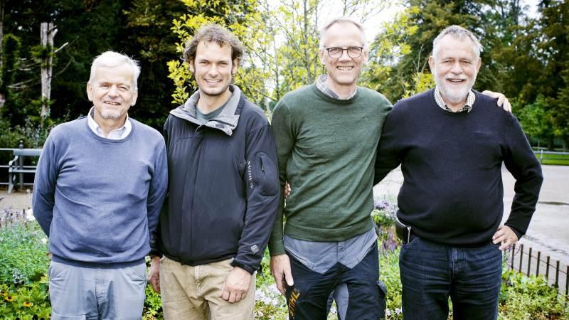 Skovrider Esben Møller Madsen (tv), ph.d. Anders Tærø Nielsen, seniorforsker Palle Madsen og skovrider Per Hilbert har sammen skrevet bogen »Klimaskoven – et effektivt redskab til håndtering af CO2-problemet«. Heri argumenterer de for et aktivt skovbrug med større arealer og større hugst.
