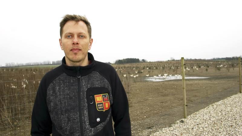 - Vi har tidligere haft brune høns. Men nu har vi hvide, fordi vi synes, den hvide høne er en mere aktiv høne, siger direktør i Vallø Øko ApS, Anders Christiansen.
