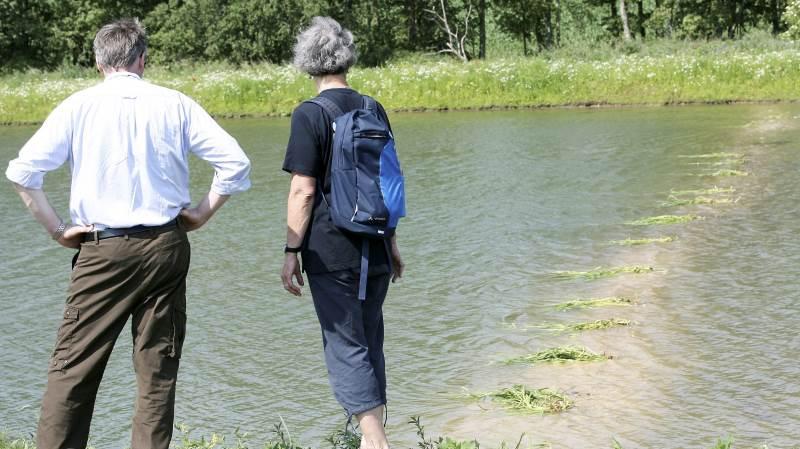 - Tidligere løb drænrøret direkte ud i åen. Nu løber røret først ind i minivådområdet og igennem bassinerne, hvor drænvandet renses for en del af fosforen og kvælstoffet, før det løber ud i Kongshøj Å, fortæller gårdejer Henrik Hoeck, der her besigtiger minivådområdet sammen med oplandskonsulent Anne Sloth fra Velas i Vissenbjerg.
