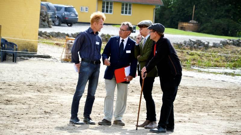 Kurt Kamuk fra Svanninge, der her ses i midten af flokken af voterende dommere på Brahetrolleborg i 2019, er som den første blevet tildelt prisen som Årets Frivillig 2020 i Dansk Varmblod. Arkivfoto: Camilla Bønløkke