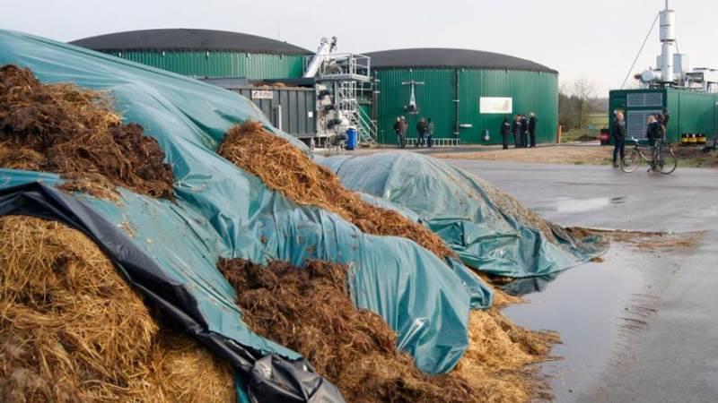 Et tysk AgriKomp-biogasanlæg. Ensilage af halm/efterafgrøde i forgrunden. Arkivfoto: Erik Fog, Seges.