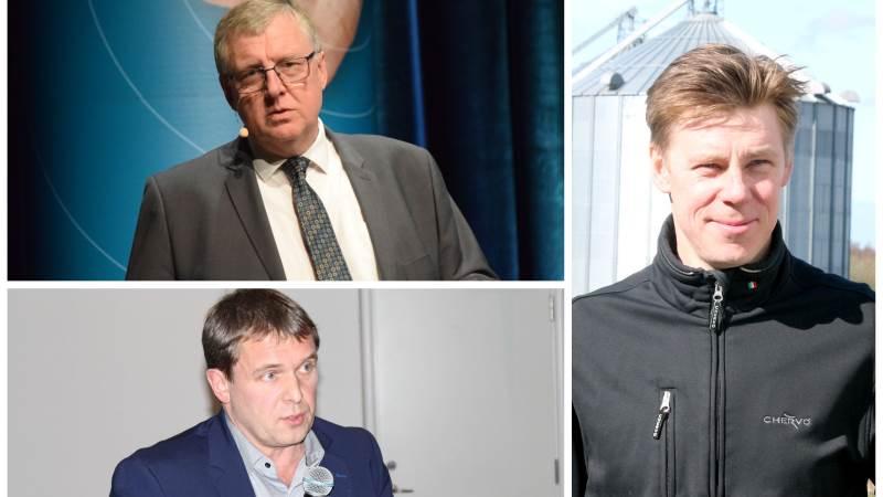 Formand for L&F Svineproduktion Erik Larsen (øverst tv), formand for Danske Svineproducenter, Kim Heiselberg (th) og formand for Danske slagterier Asger Krogsgaard, er gået sammen om at udvikle en vision for den danske svinebranche for 2050.