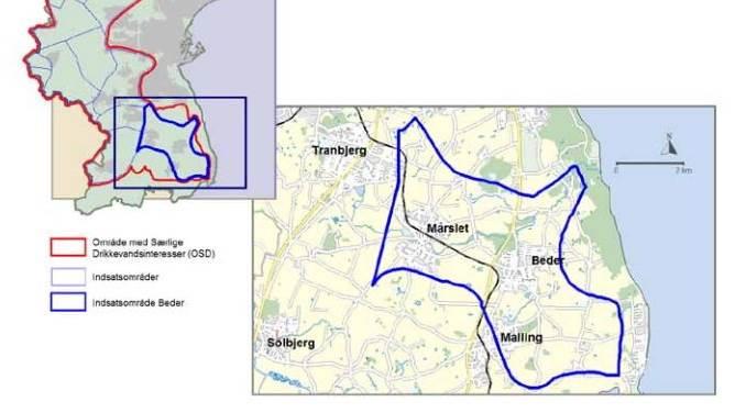 Her er området i Beder, som det drejer sig om.