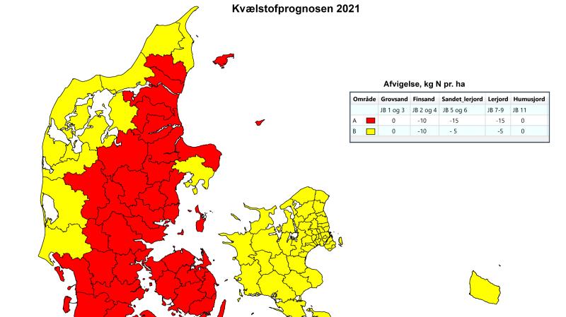 I område A (røde kommuner) har nedbøren ligget 122 millimeter under gennemsnittet for de sidste 10 år. I område B (gule kommuner) har nedbøren ligget 54 millimeter under gennemsnittet. Kilde: Landbrugsstyrelsen