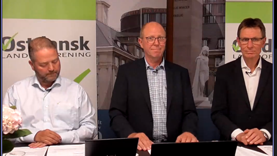 Trioen fra Østdansk Landboforening, der kom på skærmen under den virtuelle generalforsamling på Axelborg. Fra venstre: Dirigent Peter Nyegaard Nissen, formand Ole Elbæk og direktør Torben Flinch.