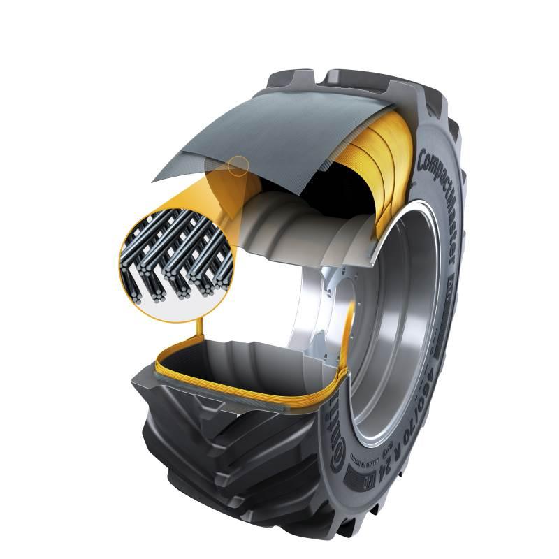 Det nye Continental CompactMaster AG-dæk er udstyret med Turtle Shield, et nyt slidbanelag og en stålbæltekonstruktion, der øger dækket levetid og stabiliserer teleskoplæsseren eller minilæssere ved materialehåndteringsarbejde. Foto: Continental