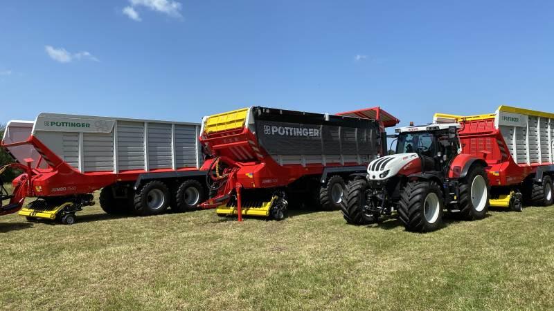 Pöttinger lancerede i dag i Østrig tre nye Jumbo-snittere, der er designet til traktorer fra 200 til 500 hk, hvor model 7540 udgør flagskibsmodellen i den nye 7000-serie og er den første snittervogn, som har samme kapacitet som de selvkørende snittere. Foto Per Jørgensen