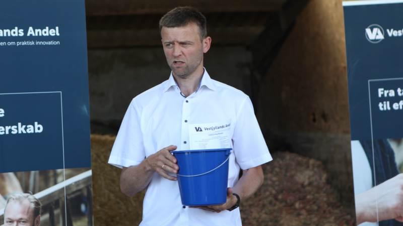 Preben Tang, Vestjyllands Andel, opfordrede slagtekalveproducenterne til at gå efter spraytørret frem for mekanisk tørret mælkepulver. Foto: Christian Carus