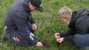 Denne flotte slætgræsmark, der blev etableret sidste år, har klaret vinteren fint. Gurli Klitgaard (th) forklarer Lars Kristensen, hvordan det kan styrke kløverandelen at holde lidt igen med N-gødskningen i etableringsåret. Fotos: Bøje Østerlund.