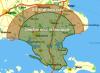 Kortet viser den del af Sjælland, som er omfattet af fri transport.