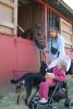 Mette Trantel og datteren Sofie på tre år med deres gadehund fra Bosnien, der oplevede nye bekendtskaber. Foto: Jesper Hallgren